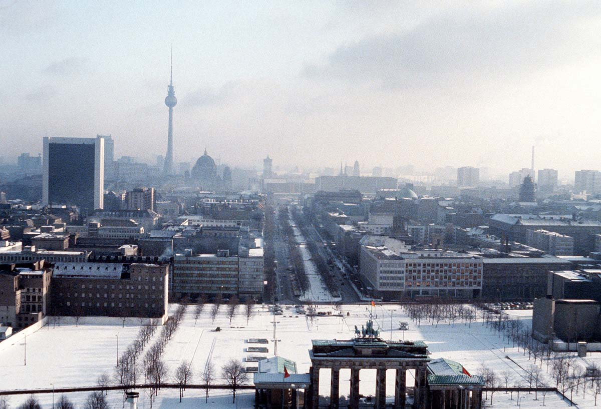 A view of the Brandenburg Gate, with East Berlin in the background.
